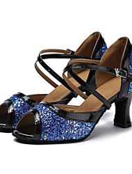 "Women's Latin Sparkling Glitter Leatherette Sandals Heels Professional Buckle Customized Heel White Blue 1"" - 1 3/4"" 2"" - 2 3/4"" 3"" - 3"