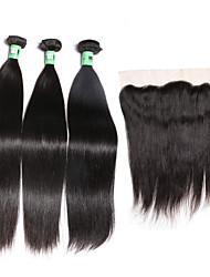cheap -Malaysian Hair Straight Hair Weft with Closure 3 Bundles With  Closure 8-26inch Human Hair Weaves Lace Front / 4x13 Closure Soft / 4a