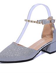 cheap -Women's Shoes PU(Polyurethane) Spring / Summer Club Shoes Heels Chunky Heel Pointed Toe Flower Rose Pink / Dark Grey / Silver / Dress