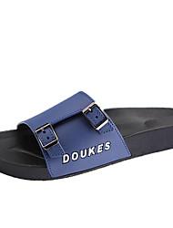 cheap -Men's Slippers & Flip-Flops Comfort Spring Fall PU Outdoor Flat Heel Black Ruby Blue Flat