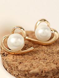 economico -Per donna Orecchini a bottone Perle finte Di tendenza bigiotteria Lega A forma di cuore Gioielli Per Casual
