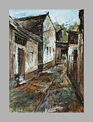 cheap -IARTS® Modern Abstract Oil Painting Classical Style Town Street View with Stretched Frame For Home Decoration Ready To Hang