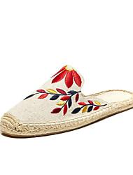 baratos -Mulheres Sapatos Linho Lona Algodão Primavera Verão Alpargata Solados com Luzes Sandálias Sem Salto Ponta Redonda Apliques para Casual