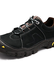 Hiking Shoes Men's Athletic Shoes Comfort Cowhide Nappa Leather Spring Fall Athletic Casual Outdoor  Comfort Split Joint Flat HeelKhaki Dark