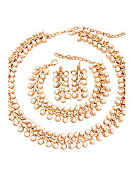 cheap -Women's Rhinestone Imitation Pearl Jewelry Set - Classic Euramerican Fashion Adorable Simple Style Flower Gold Jewelry Set Pearl Necklace