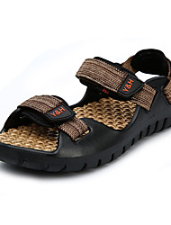 Men's Sandals Light Soles Summer PU Water Shoes Casual Buckle Flat Heel Black Brown Ruby Flat
