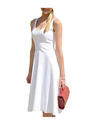 Women's Casual/Daily Sexy Swing Dress,Solid V Neck Midi Sleeveless Polyester Roman Knit Summer Mid Rise Micro-elastic Medium