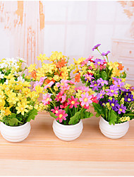7 ramo / pote de plástico margaridas mini flor de mesa flores artificiais