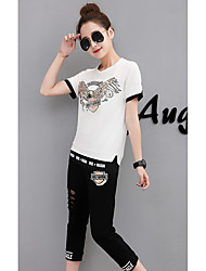 Women's Daily Soak Off Summer Tank Top Pant Suits,Floral Animal Print Round Neck Short Sleeve