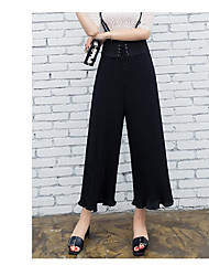 Women's High Waist Micro-elastic Culotte Overalls Pants,Simple Relaxed Solid