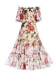 Недорогие -Для женщин На выход Пляж Богемный Уличный стиль С летящей юбкой Платье Цветочный принт,Вырез лодочкой Макси С короткими рукавами
