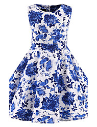 cheap -Girl's Floral Dress,Cotton All Seasons Sleeveless Floral Blue