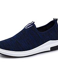 cheap -Men's Sneakers Light Soles Spring Fall Knit Walking Shoes Casual Outdoor Flat Heel Black Dark Blue Blue Flat
