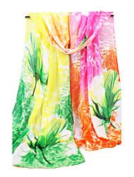 Women's Chiffon Fashion Cute Floral Blue/Green/Purple/Fuchsia  Spring Summer Fall Winter All Seasons Scarf