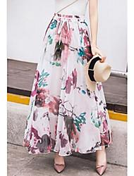 cheap -Women's Maxi Relaxed Skirts - Multi Color, Print High Waist