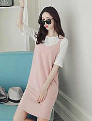 Women's Casual/Daily Bodycon Dress,Solid Round Neck Knee-length Short Sleeve Rayon Polyester 100%Cotton Summer Mid Rise Micro-elastic