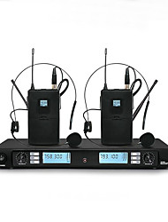 cheap -Wireless Microphone Karaoke System With  Dual black headset Transmitter Microfone Mic