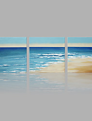 IARTS® Hand Painted Abstract Oil Painting Beach Wave Picture Set of 3 with Stretched Frame Handmade Oil Painting For Home Decoration Ready To Hang
