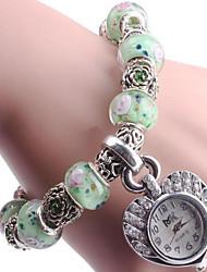 Mulheres Bracele Relógio Digital Metal Banda Azul Verde