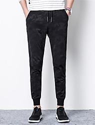 Hombre Sencillo Tiro Medio strenchy Chinos Pantalones,Delgado Un Color Color Camuflaje Letra y Número Color puro