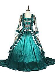 abordables -Rétro Victorien Costume Femme Costume de Soirée Gris Vert Rose Vintage Cosplay Tissu Matelassé Taffetas Manches 3/4 Asymétrique