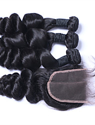 cheap -Natural Color Hair Weaves Brazilian Texture Loose Wave More Than One Year Four-piece Suit hair weaves