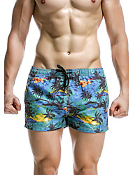 cheap -Men's Sporty Bottoms - Plants Tropical Leaf, Print Board Shorts / 1 Piece / Super Sexy