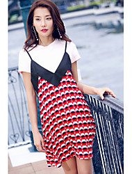 AGD Women's Daily Casual Date Going out Valentine's Day Casual Active Casual/Daily Lovely Spring Summer T-shirt Dress SuitsSolid PrintRound