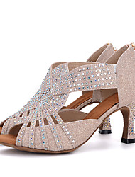 "cheap -Women's Latin Glitter Sandal Heel Performance Rhinestone Buckle Flared Heel Gold Pink Black/White White/Silver 1"" - 1 3/4"" 2"" - 2 3/4"" 3"""