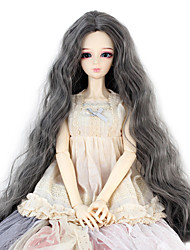 Synthetic Doll Accessories Long Kinky Curly Dark Grey Color Middle Centre Parting Hair for 1/3 1/4 Bjd SD DZ MSD Doll Costume Wigs Not for Human Adult
