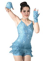 preiswerte -Tanzsport Kleidung Turnanzug Damen Kinder Vorstellung Polyester Pailletten Elastan 3 Stück Ärmellos Normal Gymnastikanzug Handschuhe