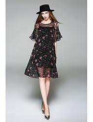 Χαμηλού Κόστους WHALE STUDIO-Γυναικεία Χαριτωμένο Σιφόν Φόρεμα - Φλοράλ Ως το Γόνατο