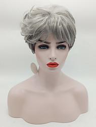 abordables -Pelo sintético pelucas Ondulado Entradas Naturales Raíces oscuras Pelo Ombre Peluca natural Corta Gris