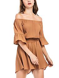 Недорогие -Для женщин Уличный стиль Пляж На каждый день Комбинезоны,Со стандартной талией Тонкие Чистый цвет Мода Лето