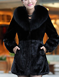 Women's Casual/Daily Simple Winter Fur Coat,Solid Hooded Long Sleeve Long Wool Others Fox Fur