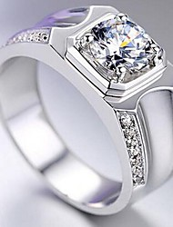Per uomo Anello imitazione diamante Classico Originale Argento sterling Lega A stella Gioielli Per Matrimonio San Valentino