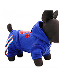 Cachorro Camisola com Capuz Roupas para Cães Casual Animal Vermelho Azul