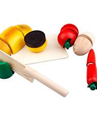 Недорогие -Игрушка кухонные наборы Игрушечная еда Ролевые игры Игрушки Квадратный Овощи Овощи и фрукты Ножи для овощей и фруктов Фрукт деревянный