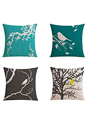 cheap -4 pcs Linen Pillow case Bed Pillow Body Pillow Travel Pillow Sofa CushionBotanical Pattern Printing Nature Inspired