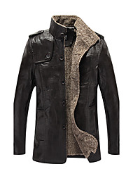 Men's Daily Casual Simple Casual Winter Leather Jacket,Solid Stand Long Sleeve Regular PU