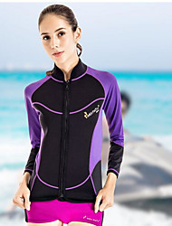 Women's Boating Elastic Diving Suit Long Sleeves Top-Swimming Beach Surfing Watersports Sailing All Seasons Solid Fashion Sports and