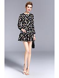 Largo Vestito Da donna-Per uscire Casual Vintage Moda città Con stampe Rotonda Sopra il ginocchio Manica lunga Seta EstateA vita
