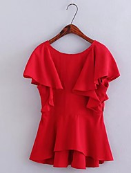 Women's Party Birthday Party/Evening Office/Career Daily Casual Sexy Simple Cute Blouse,Solid V Neck Sleeveless Polyester