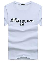 cheap -Men's Active Plus Size Cotton T-shirt Print Round Neck