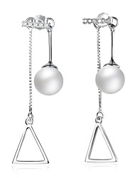 cheap -Women's Drop Earrings Imitation Pearl AAA Cubic ZirconiaBasic Circular Unique Design Dangling Style Rhinestone Natural Geometric