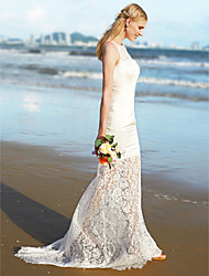 Mermaid / Trumpet Jewel Neck Sweep / Brush Train Lace Satin Wedding Dress with Lace by LAN TING BRIDE®