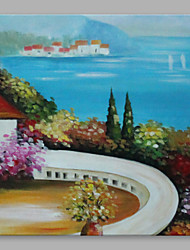 IARTS® Oil Painting Vintage Italian Summer House Abstract Art Acrylic Canvas Wall Art For Home Decoration