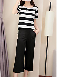 cheap -Women's Other Casual Casual Summer Shirt Pant Suits,Solid Striped Round Neck Short Sleeve Cotton/nylon with a hint of stretch