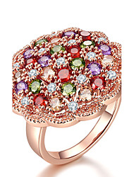 cheap -Women's AAA Cubic Zirconia Rose Gold Cubic Zirconia Ring - Flower Elegant Adorable Assorted Color Ring For Wedding Anniversary Engagement