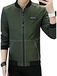 cheap -Men's Club Plus Size Jacket - Solid Letter & Number Fashion Stand